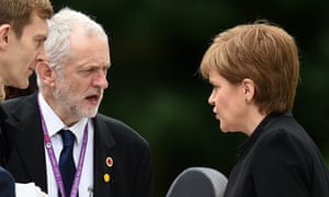 Nicola Sturgeon talks with Jeremy Corbyn before commemoration ceremony in Thiepval, France