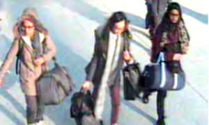 Amira Abase, Kadiza Sultana and Shamima Begum at Gatwick airport.