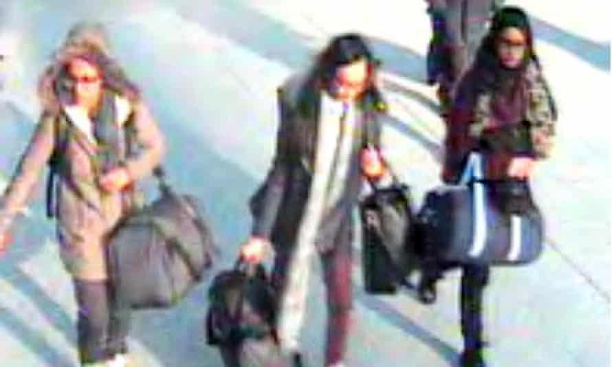 The three schoolgirls (l to r): Amira Abase, 15, Kadiza Sultana, 16, and Shamima Begum, 15, at Gatwick airport in February 2015.