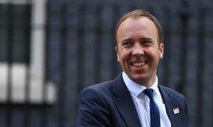 The health secretary, Matt Hancock, leaves Downing Street.