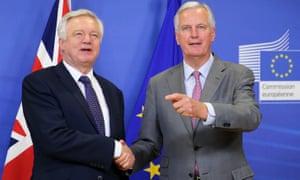 Chief negotiator for the European Union, Michel Barnier, and Secretary of State for Exiting the European Union, David Davis.