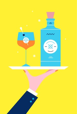 Illustration of hand holding tray with cocktail and Malfy Gin bottle