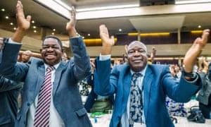 War veterans leader Christopher Mutsvangwa celebrates the dismissal of Robert Mugabe on Sunday.