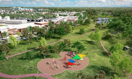 A rendering of Huntlee town park and lake.