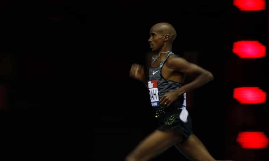 Mo Farah in action during the Men's 5000m in Birmingham