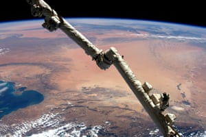 Tunisia, AfricaI never imagined a desert could look so magnificent. Taken over Tunisia, looking southeast towards Libya. The ISS robotic arm in the foreground is extended ready for cargo vehicle operations.