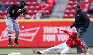 Billy Hamilton of the Cincinnati Reds shows just how easy it is to safely slide into second base.