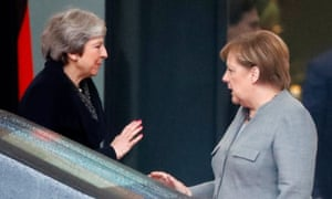 Theresa May leaves after her meeting with German Chancellor Angela Merkel at the Chancellery in Berlin today.