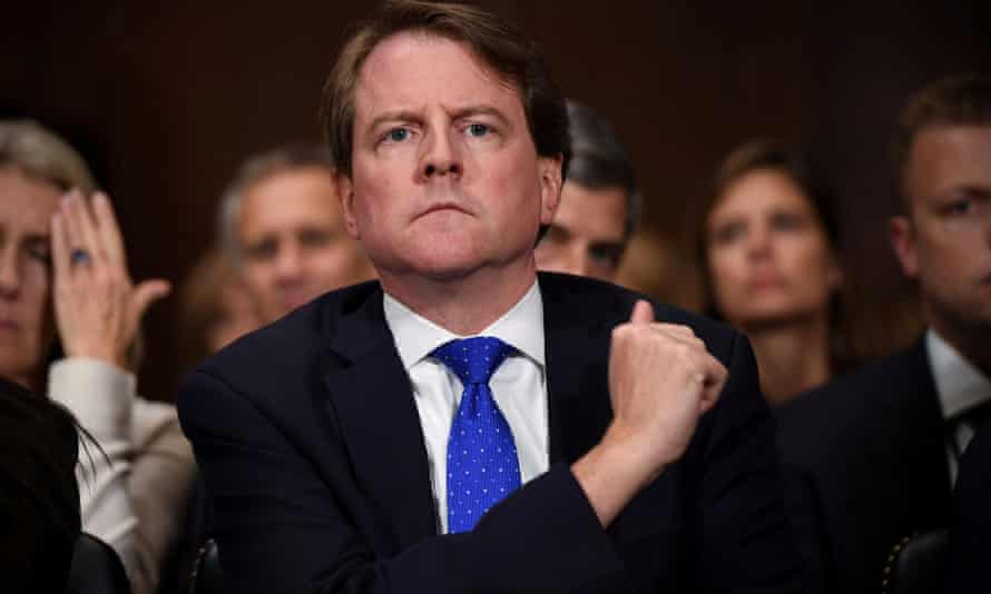 White House counsel Don McGahn listens to supreme court nominee Brett Kavanaugh as he testifies before the US Senate judiciary committee on Capitol Hill on 27 September 2018.