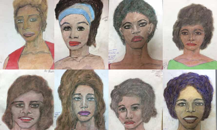 Undated sketches provided by the FBI show drawings made by serial killer Samuel Little, based on his memories of some of his victims.