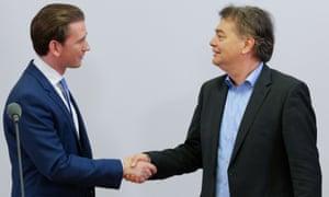 ÖVP leader Sebastian Kurz (left) and Green leader Werner Kogler during coalition talks