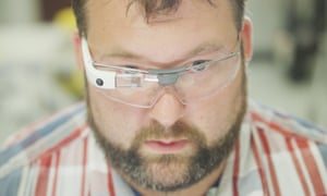 A factory worker at agricultural machinery-maker AGCO in Jackson, Minnesota, wearing Google Glass Enterprise Edition.