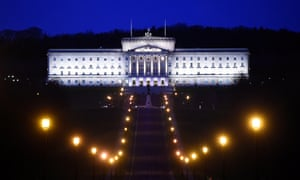 Night-time view of parliament buildings at Stormont, Belfast, Northern Ireland