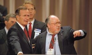 Ailes with George HW Bush in the New Orleans Superdome before the Republican national convention in August 1988.