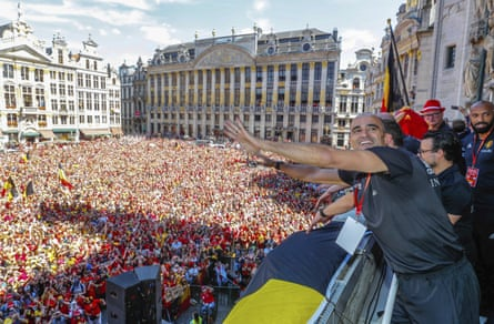 Roberto Martínez enjoys the team's welcome in Brussels after Belgium finished third at the 2018 World Cup.