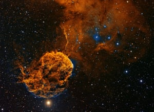 <strong>IC443</strong> Lying in the constellation of Gemini, IC443 is a galactic supernova remnant, a star that could have exploded as many as 30,000 years ago. Its globular appearance has earned the celestial structure the moniker the Jellyfish Nebula