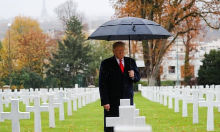 Donald Trump takes part in the commemoration ceremony for Armistice Day, 100 years after the end of first world war in Paris, France, on 11 November 2018.