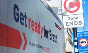 A Get Ready For Brexit billboard in London in September