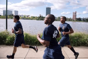 Recruits Nuñez, Riley and Moreno on the infamous Chief's Run. Led by Battalion Chief James Bowron, new recruits are put through a brutal workout around Oakland's Lake Merritt at the end of a long day