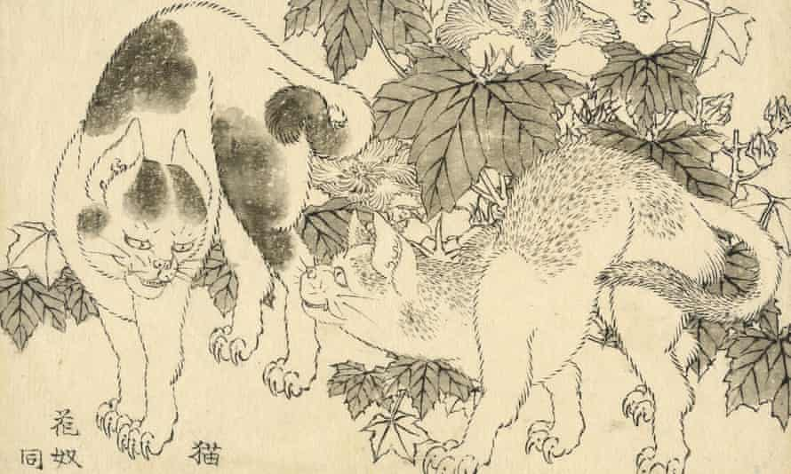 Cats and Hibiscus, one of the works purchased by the British Museum. It shows two cats against a backdrop of foliage.