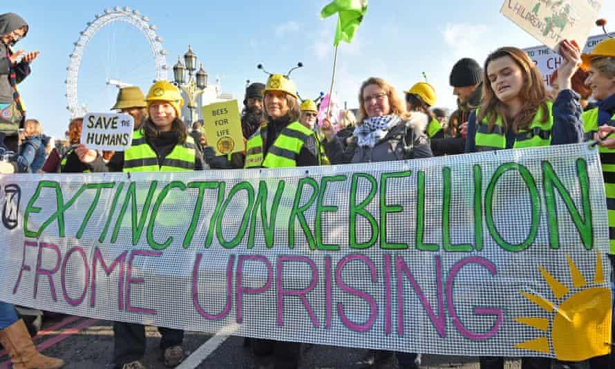 Extinction Rebellion demonstrators on Westminster Bridge in London.