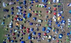 Refugees' tents at the Greek-Macedonian border, near the village of Idomeni.