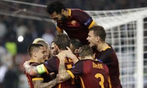 Roma players celebrate
