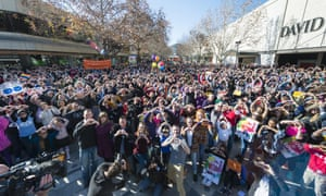 Crowds gather at Garema Place, Canberra, in support of marriage equality on Sunday.