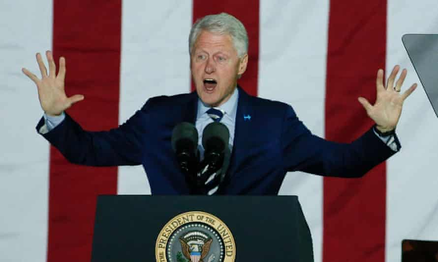 Former US president Bill Clinton addresses the Philadelphia rally