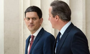 Former foreign secretary David Miliband (left) and David Cameron in London 2016.