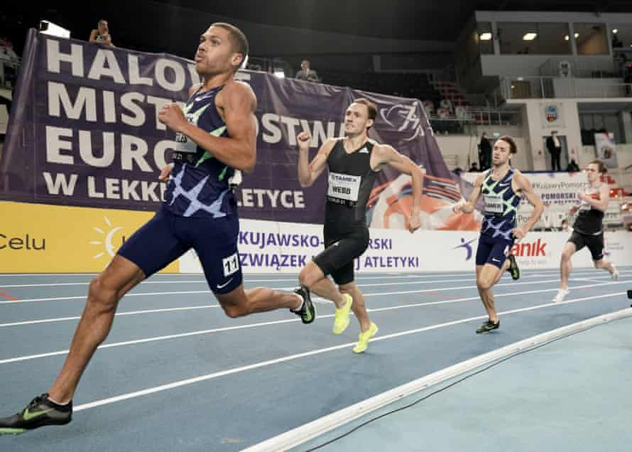 The British runner Elliot Giles (left) on his way to running the second-fastest indoor 800m in history in Torun, Poland.