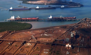 Ships waiting to be docked at Port Hedland.