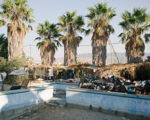 A makeshift refugee camp outside the abandoned Captain Elias hotel, where hundreds are living in unsanitary conditions