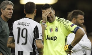 Juventus keeper Gianluigi Buffon is tearful after the final whistle.