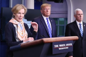 Trump prompted awkwardness when he asked if Dr Birx had heard of heat and light in relation to coronavirus. 'Not as a treatment,' she said.