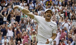 Andy Murray celebrates after beating Milos Raonic