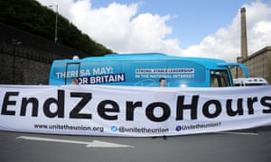 Members of the Unite union protest against zero-hours contracts