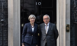Theresa May with European Commission president Jean-Claude Juncker, April 2017