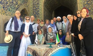 Mohammed Reza Zamani (standing, centre right) with an Italian group in Isfahan.