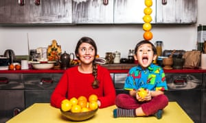 Chef Olia Hercules photographed at home in London with her son Sasha