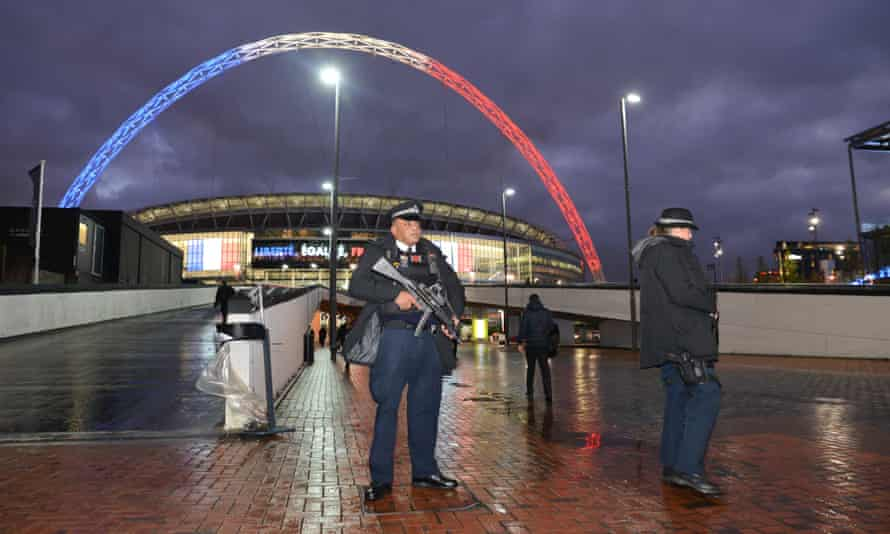 Armed police at Wembley for the friendly between England and France this week.
