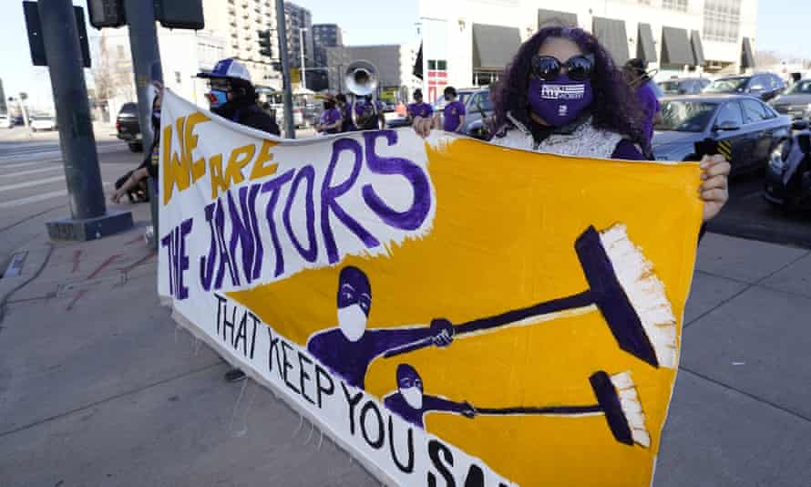Janitors demonstrate during a protest staged by the Service Employees International Union in Denver.
