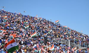 India's crowd monopolise the seating in the temporary stand at Old Trafford during Thursday's win over West Indies.