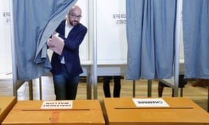 Belgian prime minister Charles Michel voting in Wavre on Sunday.
