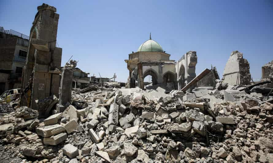 The destroyed al-Nuri mosque and its gate in the old city of Mosul.