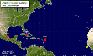A map published by the US national hurricane centre showing the storms Irma, Jose and Katia in the Caribbean and Gulf of Mexico region.