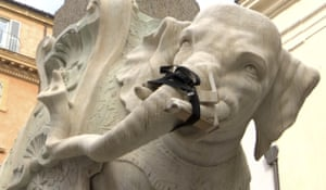 Rome, Italy: A view of the restored tusk of Gian Lorenzo Bernini's Elephant and Obelisk statue