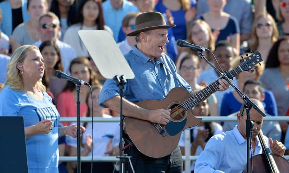 Taylor performing at a campaign event in 2016 for Democratic presidential nominee Hillary Clinton in North Carolina.