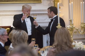 Trump shares a toast with Macron during the State Dinner