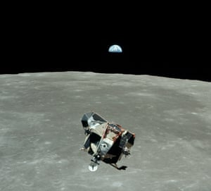 Apollo 11 lunar module, Eagle, returning from the moon to dock with command module Columbia, 21 July 1969